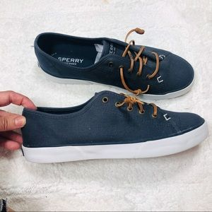 Sperry navy canvas leather lace up slip on sneaker